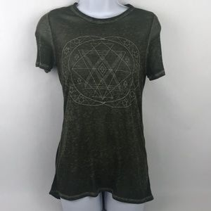 LOL Vintage Burn Out High Low Tee Olive Green XS
